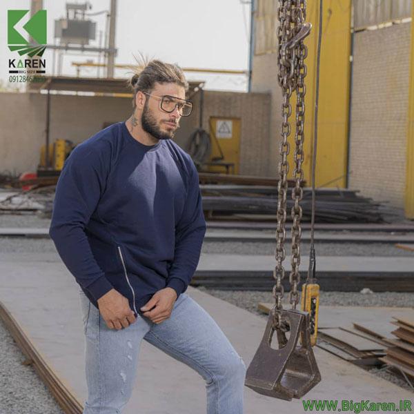 دورس سایز بزرگ مردانه بغل زیپ خور مچ کش رنگ سرمه ای خرید اینترنتی از سایت بیگ کارن