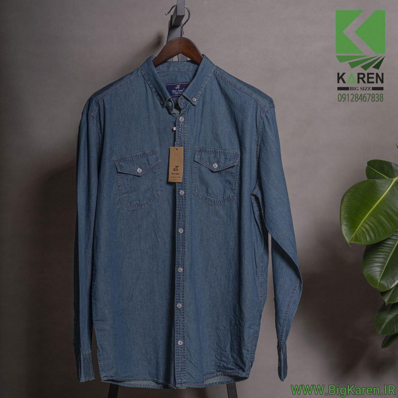 پیراهن سایز بزرگ جین مردانه دو جیب رنگ سبز آبی خرید اینترنتی از سایت بیگ کارن