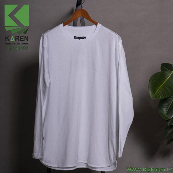 بلوز سایز بزرگ مردانه آستین بلند برند zara جنس پارچه پنبه براش رنگ سفید خرید اینترنتی از سایت بیگ کارن