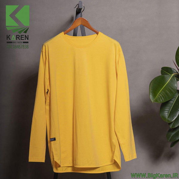 بلوز سایز بزرگ مردانه آستین بلند برند zara جنس پارچه پنبه براش رنگ زرد خرید اینترنتی از سایت بیگ کارن