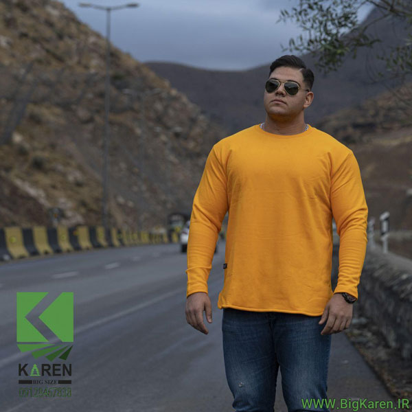 دورس سایز بزرگ مردانه آستین بلند جنس پنبه سه نخ رنگ زرد خرید اینترنتی از سایت بیگ کارن