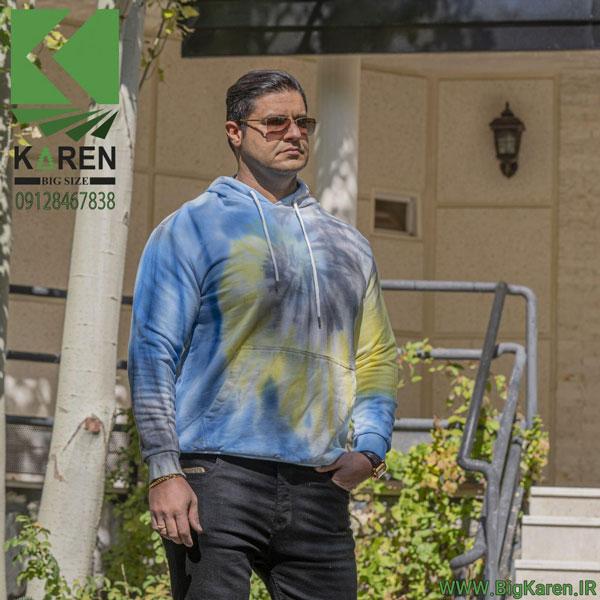 خرید اینترنتی هودی سایز بزرگ آبرنگی آبی زرد مشکی جنس پنبه از سایت بیگ کارن
