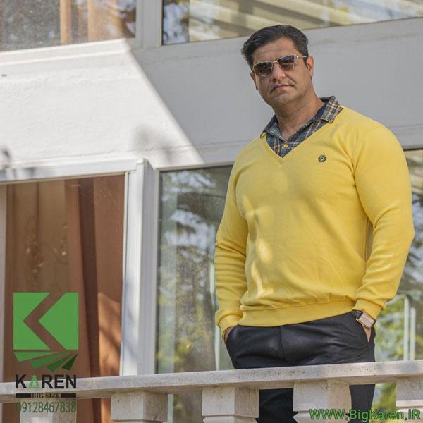 سلانیک مردانه سایز بزرگ یقه پیراهنی رنگ زرد خرید اینترنتی از سایت بیگ کارن