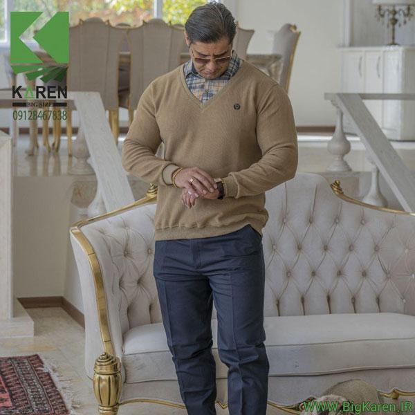 سلانیک مردانه سایز بزرگ یقه پیراهنی رنگ خاکی خرید اینترنتی از سایت بیگ کارن