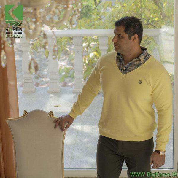 سلانیک مردانه سایز بزرگ یقه پیراهنی رنگ لیمویی خرید اینترنتی از سایت بیگ کارن