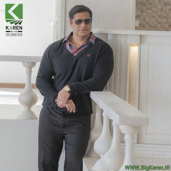 سلانیک مردانه سایز بزرگ یقه پیراهنی رنگ مشکی خرید اینترنتی از سایت بیگ کارن