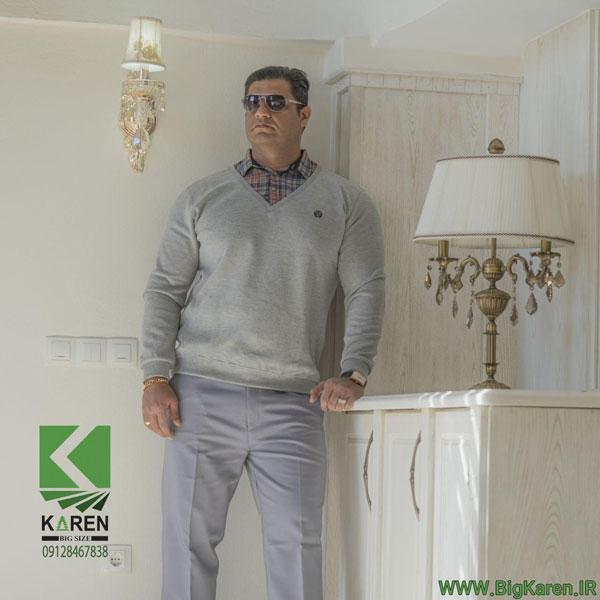 سلانیک مردانه سایز بزرگ یقه پیراهنی رنگ طوسی خرید اینترنتی از سایت بیگ کارن