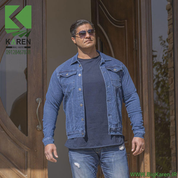 خرید اینترنتی کاپشن سایز بزرگ مردانه جین دو جیب رنگ آبی تیره بیگ کارن