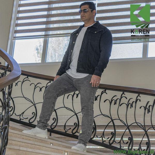 کاپشن سایز بزرگ مردانه جین دو جیب رنگ ذغالی خرید اینترنتی از سایت بیگ کارن