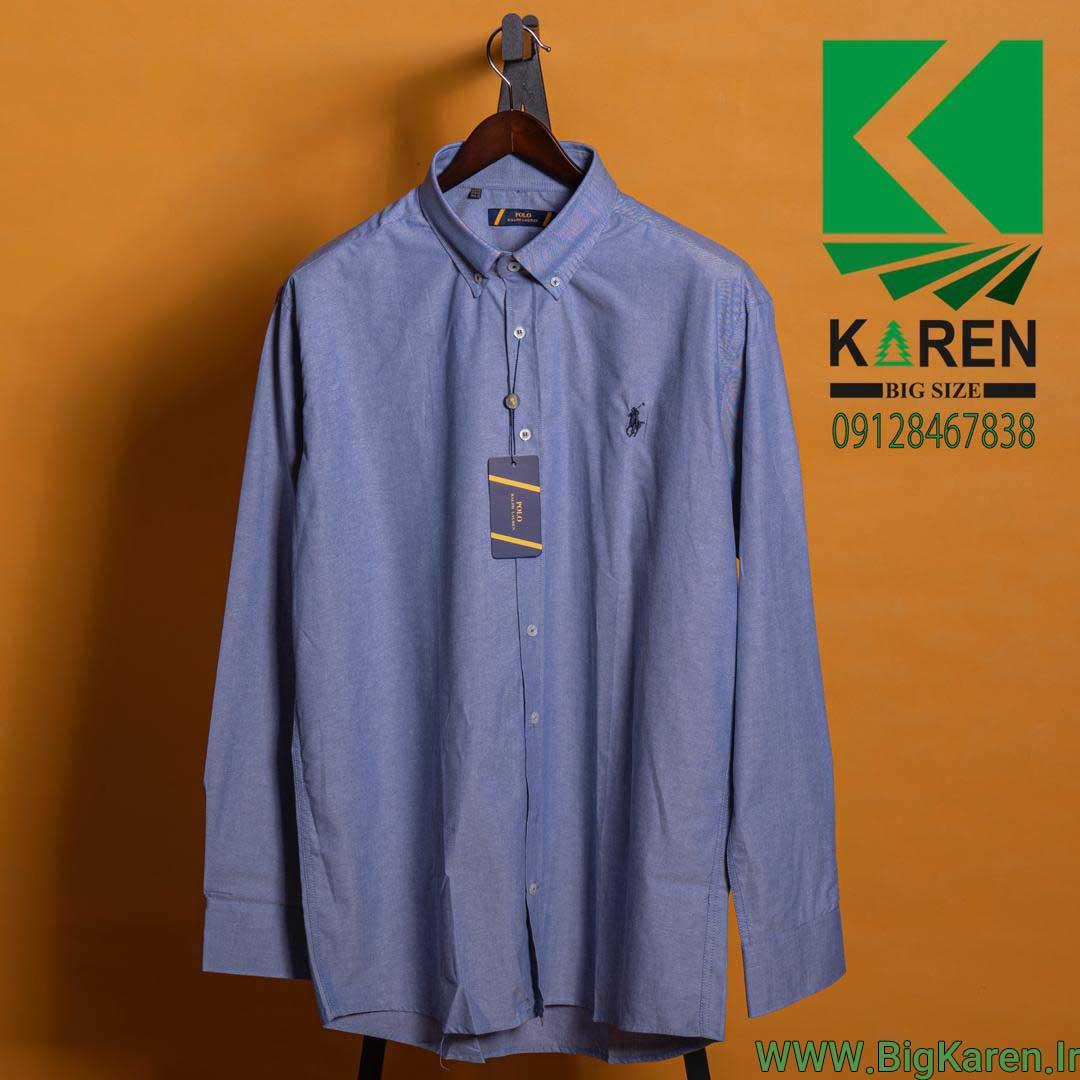 پیراهن سایز بزرگ polo ساده رنگ آبی تیره