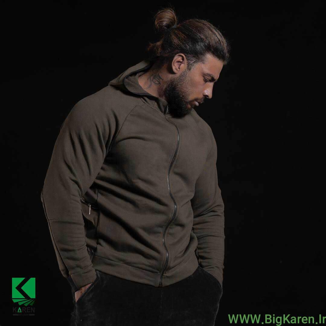 سویشرت سبز ارتشی سایز بزرگ مردانه طرح دار