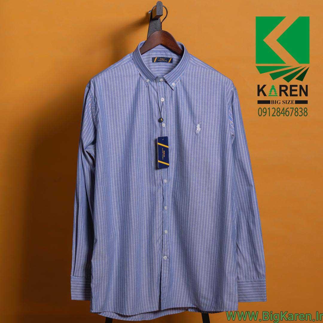 پیراهن سایز بزرگ مردانه راه راه ریز رنگ آبی با ضمانت برگشت کالا