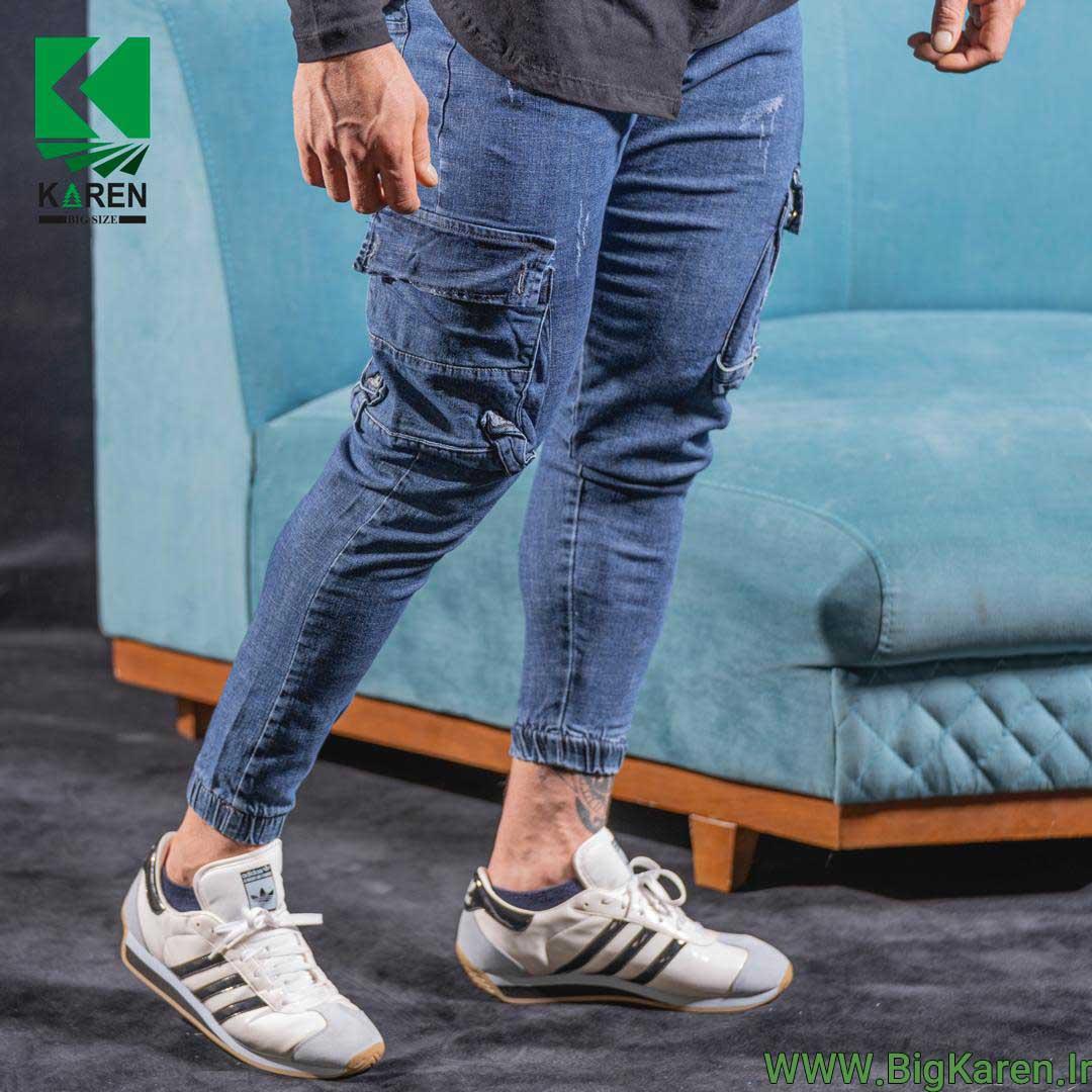 شلوار سایز بزرگ جین شیش جیب زاپ دار