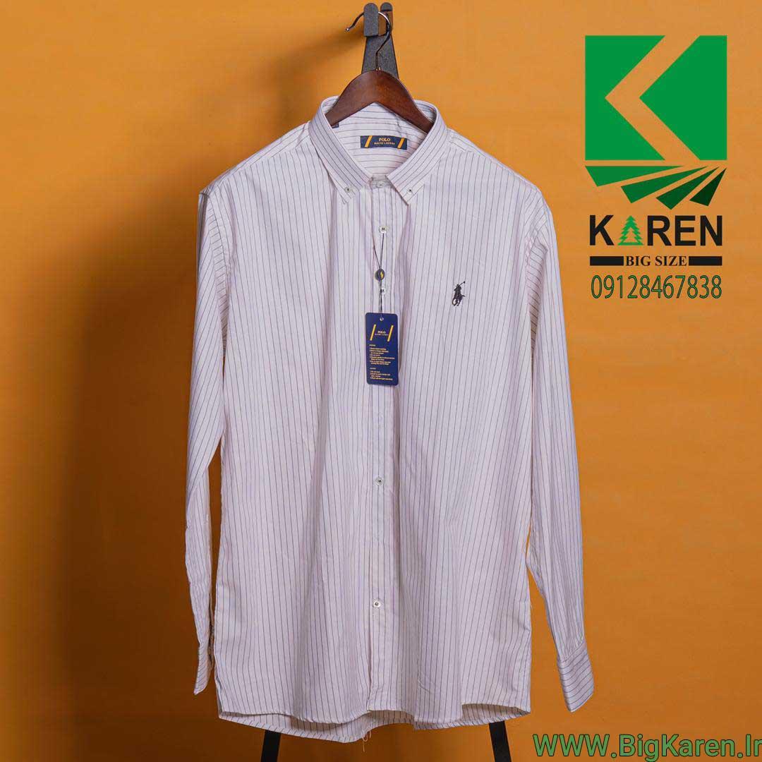 پیراهن سایز بزرگ راه راه ریز سفید با بهترین پارچه