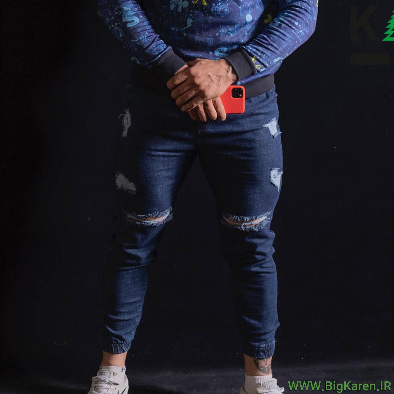 شلوار سایز بزرگ جین زاپ دار دمپا کش خرید اینترنتی از سایت بیگ کارن