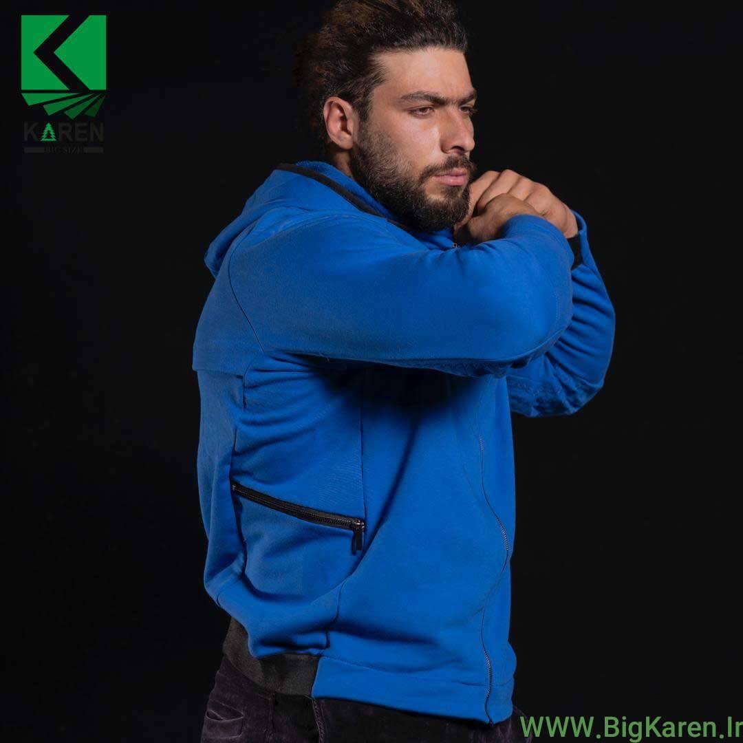سویشرت طرح دار سایز بزرگ رنگ آبی