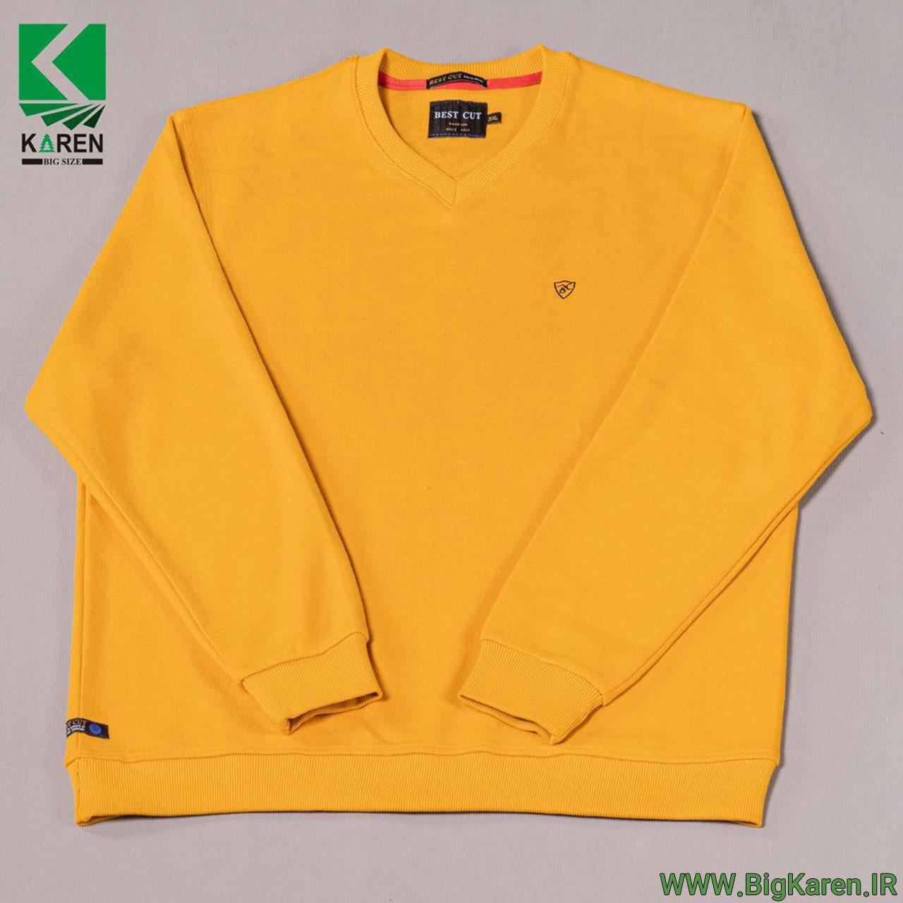 بلوز سایز بزرگ سلانیک یقه هفت مردانه رنگ زرد خرید اینترنتی از سایت بیگ کارن