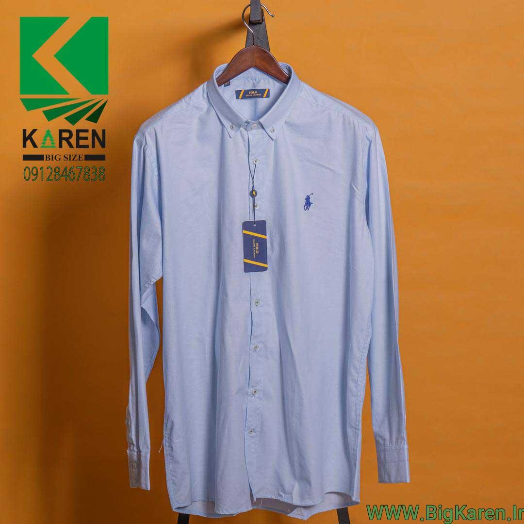 پیراهن سایز بزرگ polo رنگ آبی روشن با کیفیت بالا