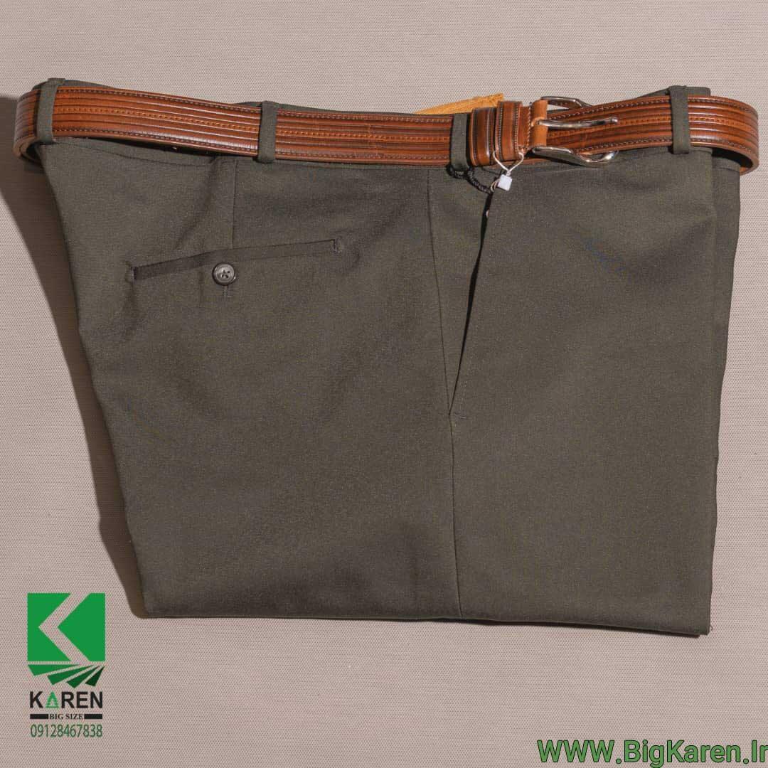 شلوار پارچه ای سایز بزرگ مردانه رنگ سبز ارتشی