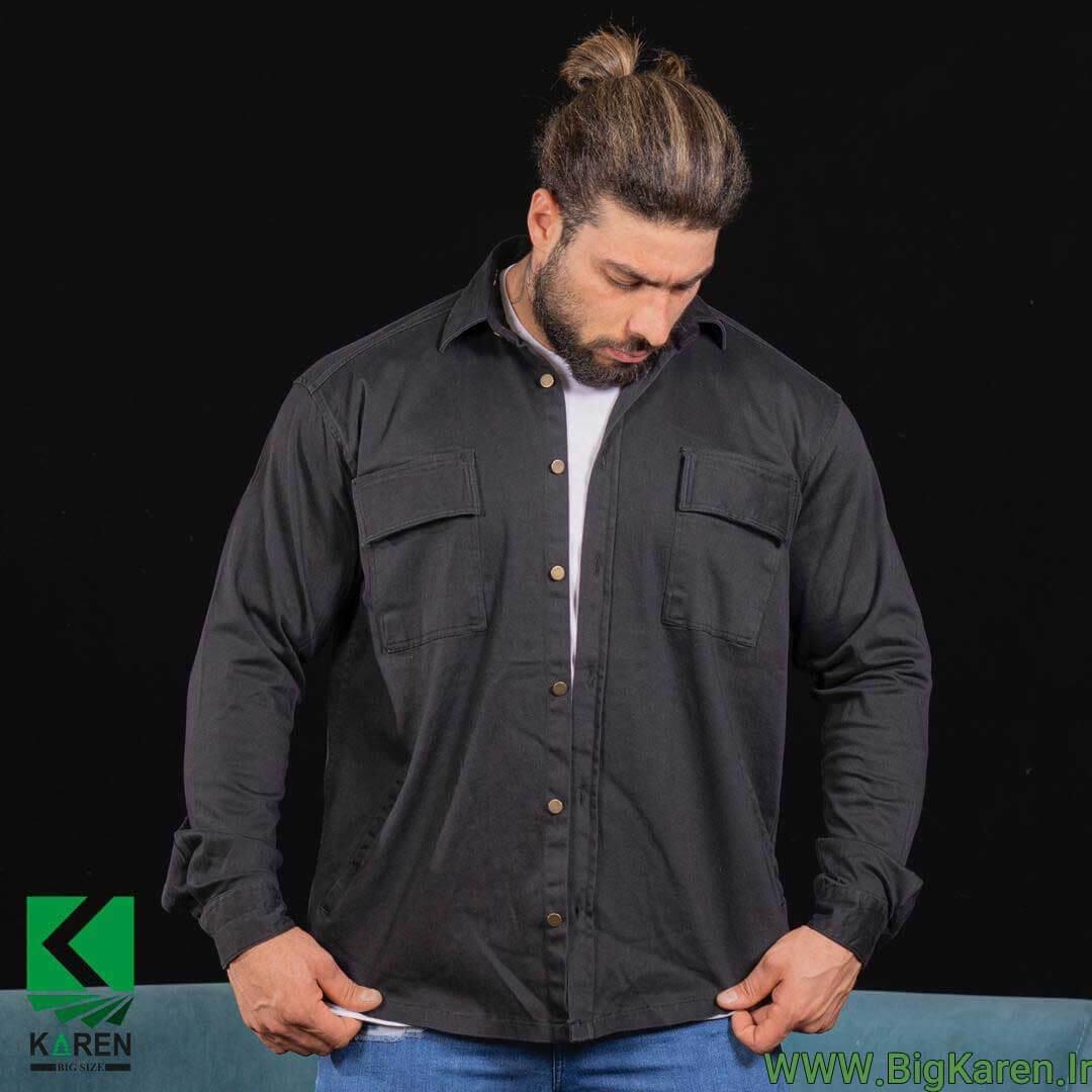 پیراهن کتان سایز بزرگ مردانه ضخیم طرح کت