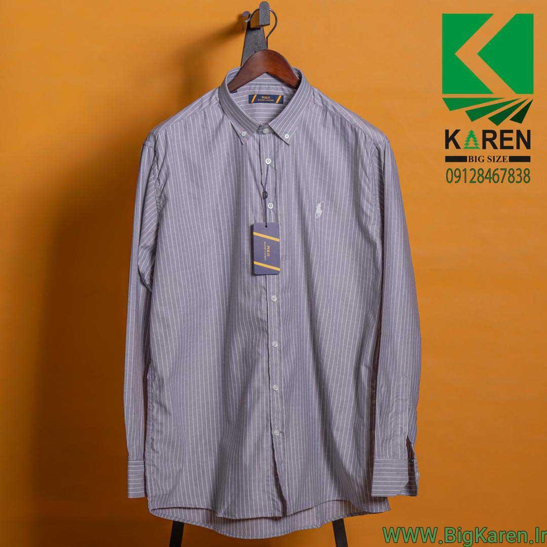 پیراهن سایز بزرگ طوسی طرح راه راه ریز با کیفیت عالی