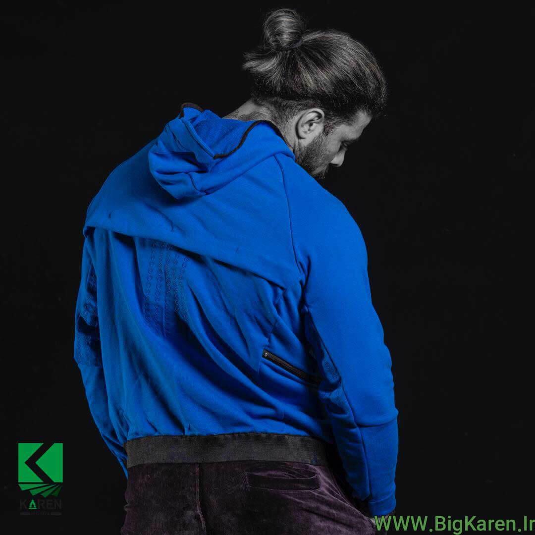 سویشرت سایز بزرگ رنگ آبی طرح دار نمای پشت