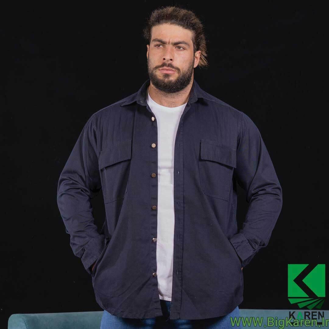 پیراهن ضخیم کتان طرح کت سایز بزرگ مردانه