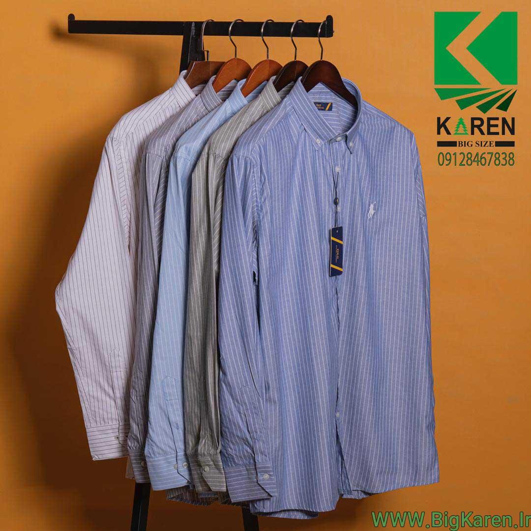 پیراهن سایز بزرگ مردانه برند polo ۵ رنگ با ارسال رایگان