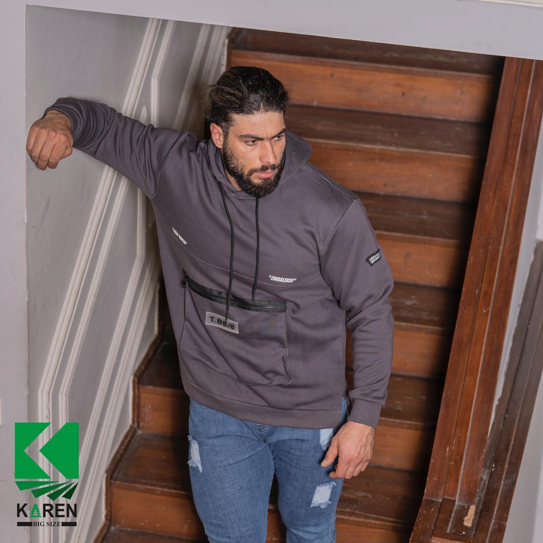 هودی جلو جیب دار بنفش مردانه سایز بزرگ