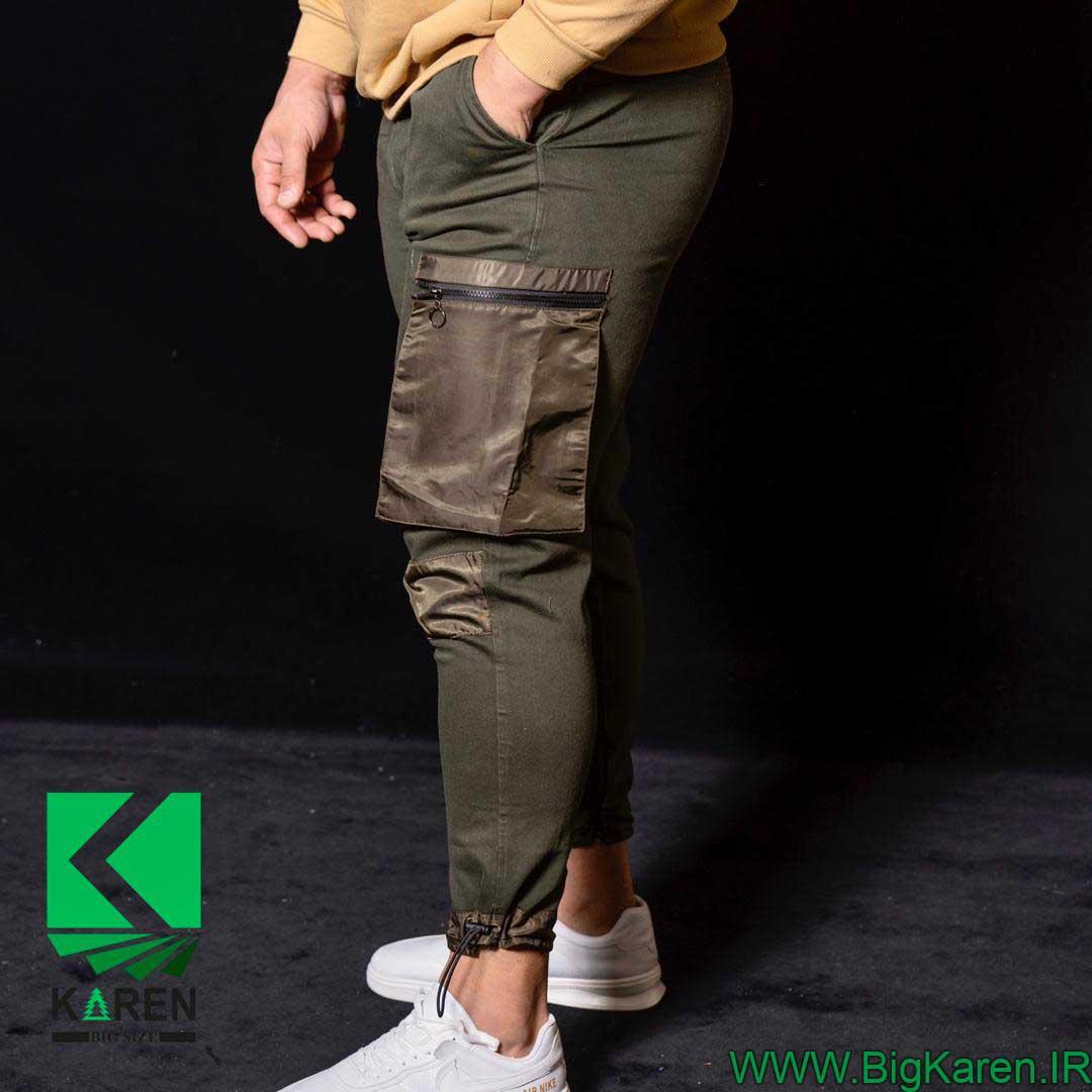 شلوار سایز بزرگ مردانه سبز ارتشی
