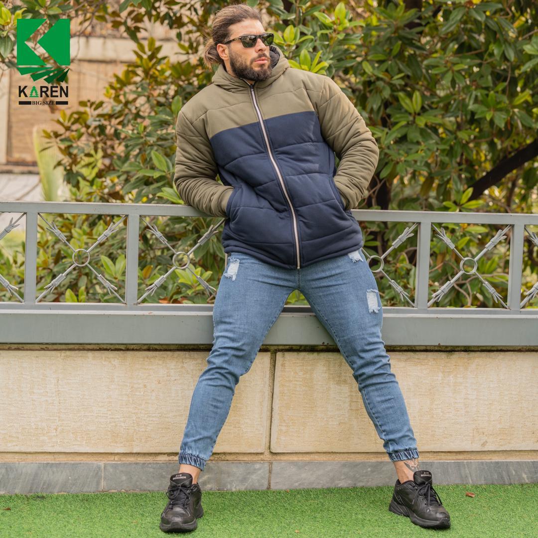 کاپشن سایز بزرگ مردانه سبز آبی