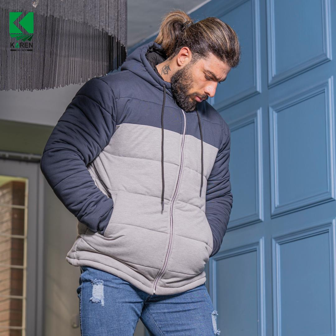 کاپشن سایز بزرگ مردانه طوسی آبی