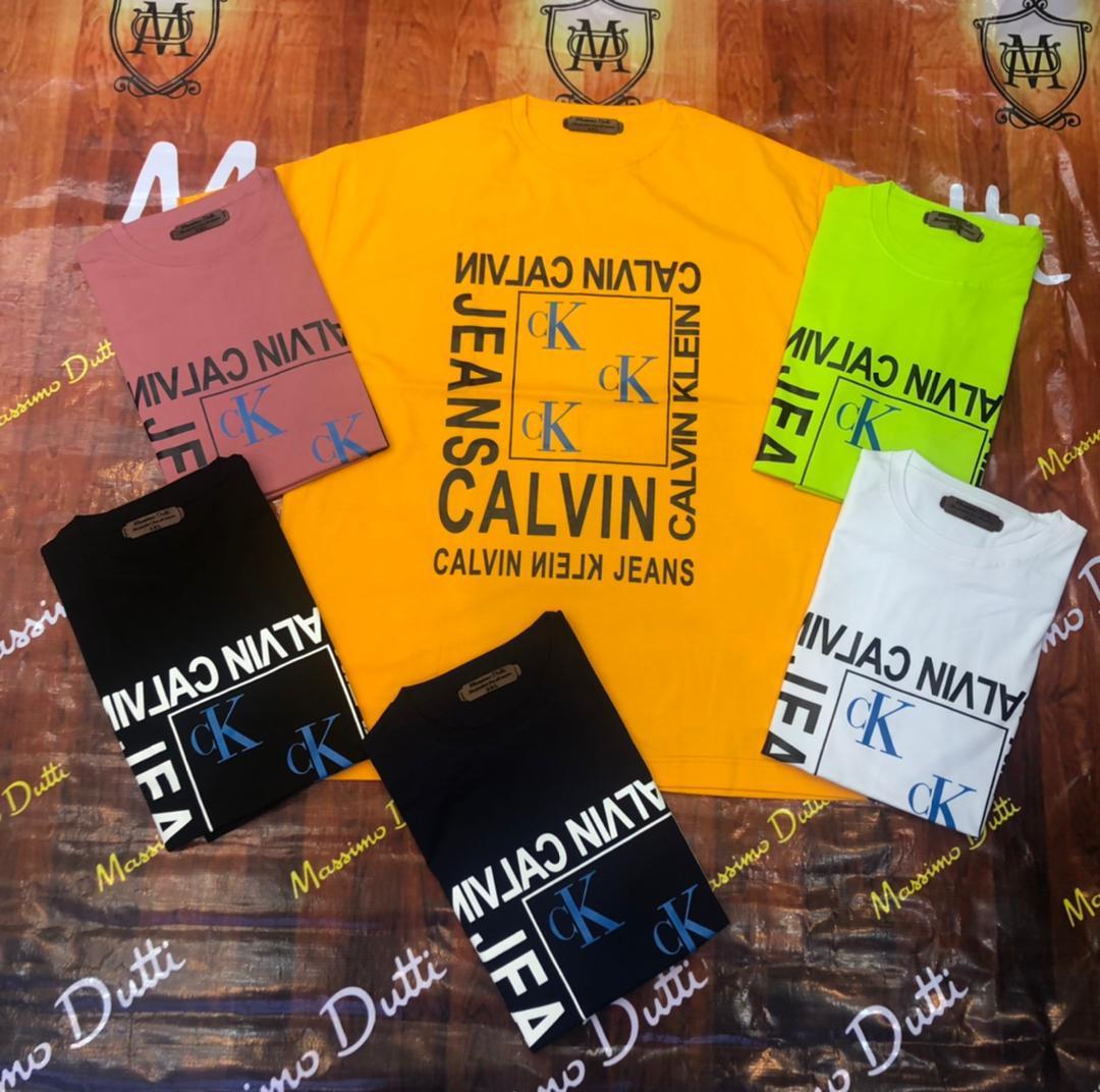 خرید تیشرت سایز بزرگ مردانه یقه گرد طرح Calvin - کد 136