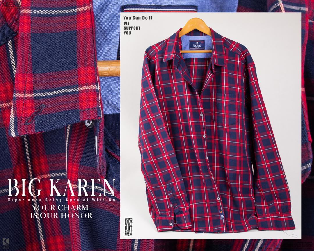 خرید پیراهن سایز بزرگ مردانه جنس پنبه نخ چهارخونه قرمز آبی - کد ۱۱۶