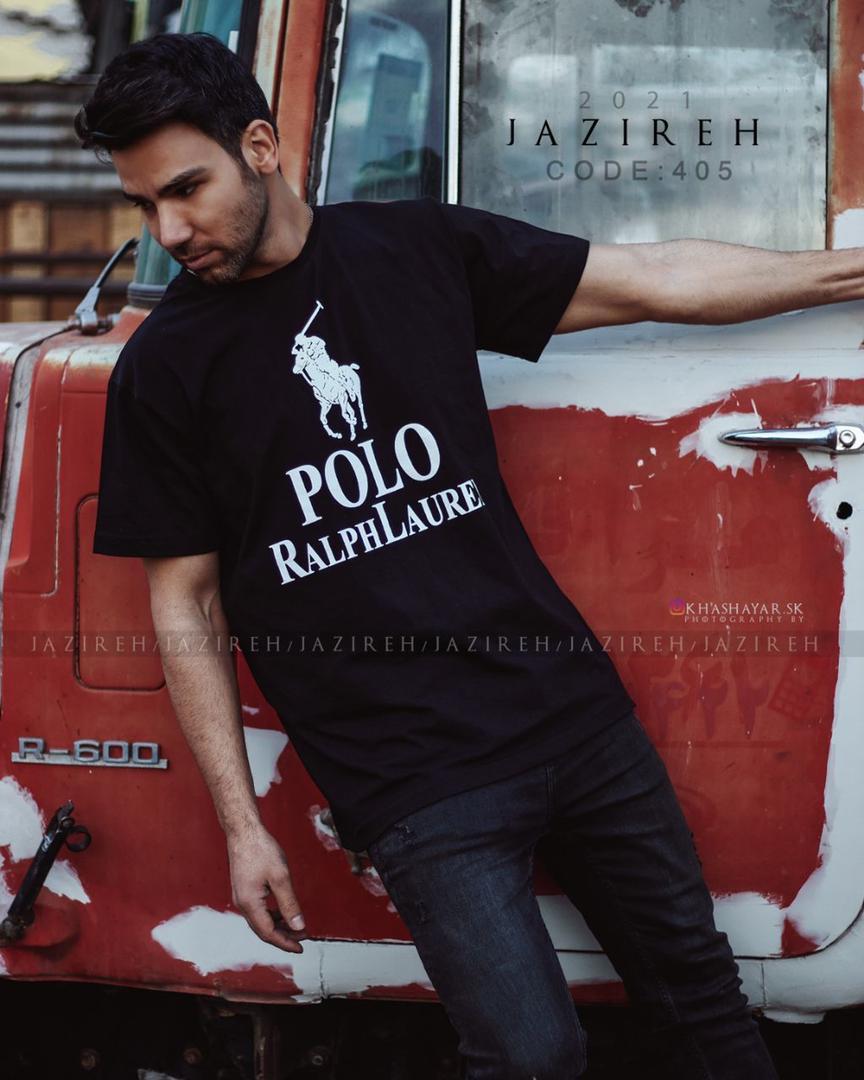 خرید تیشرت سایز بزرگ مردانه Polo مشکی تک - کد 139