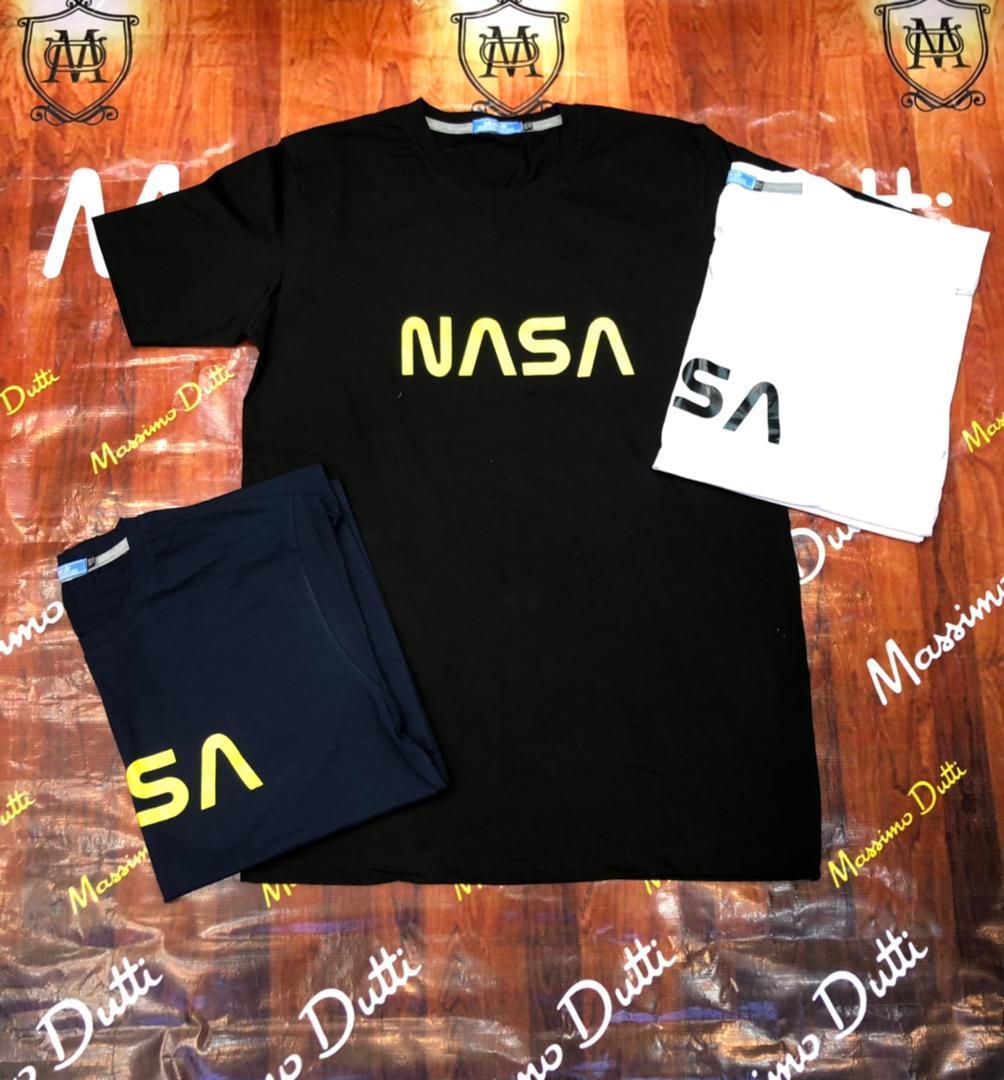 خرید تیشرت سایز بزرگ مردانه یقه گرد طرح NASA