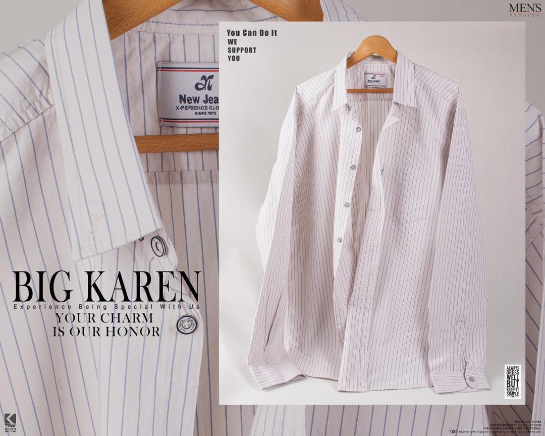 خرید پیراهن سایز بزرگ مردانه جنس پنبه نخ راه راه سفید - کد ۱۱۵