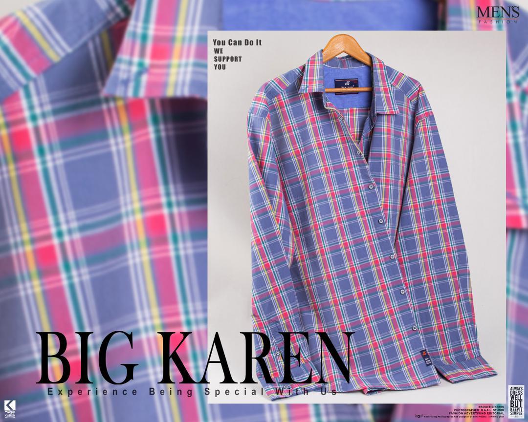 پیراهن سایز بزرگ مردانه چهارخونه درشت - کد ۱۲۲