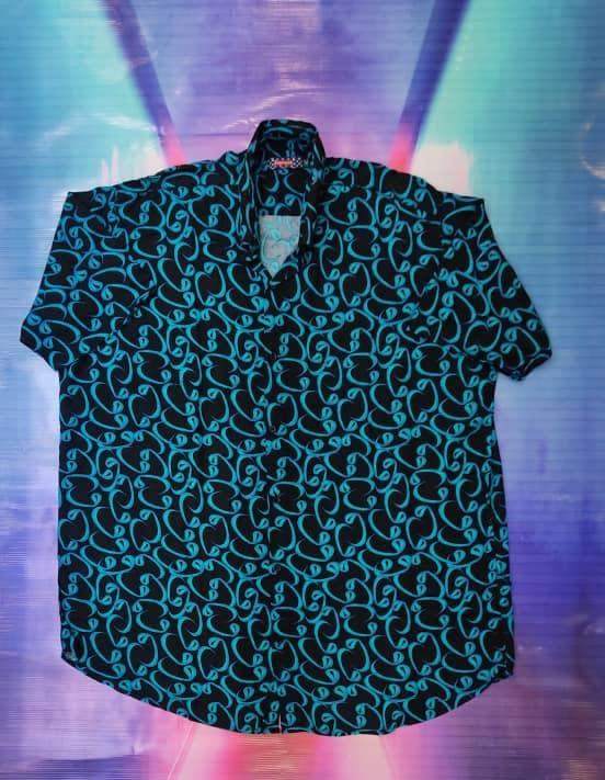 خرید پیراهن هاوایی سایز بزرگ مردانه طرح دار - کد ۱۲۷ رنگ آبی