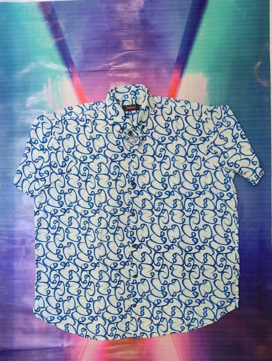 خرید پیراهن هاوایی سایز بزرگ مردانه طرح دار - کد ۱۲۷ رنگ سفید