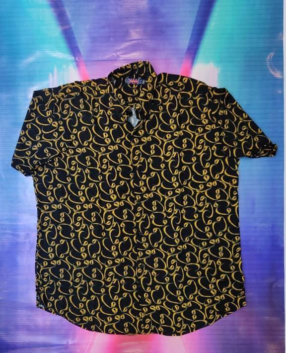 خرید پیراهن هاوایی سایز بزرگ مردانه طرح دار - کد ۱۲۷ رنگ زرد