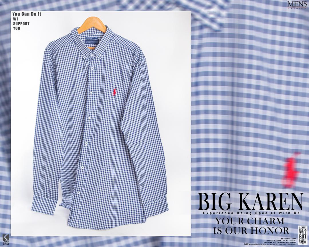 پیراهن سایز بزرگ مردانه نخی چهار خونه ریز - کد 176 رنگ آبی