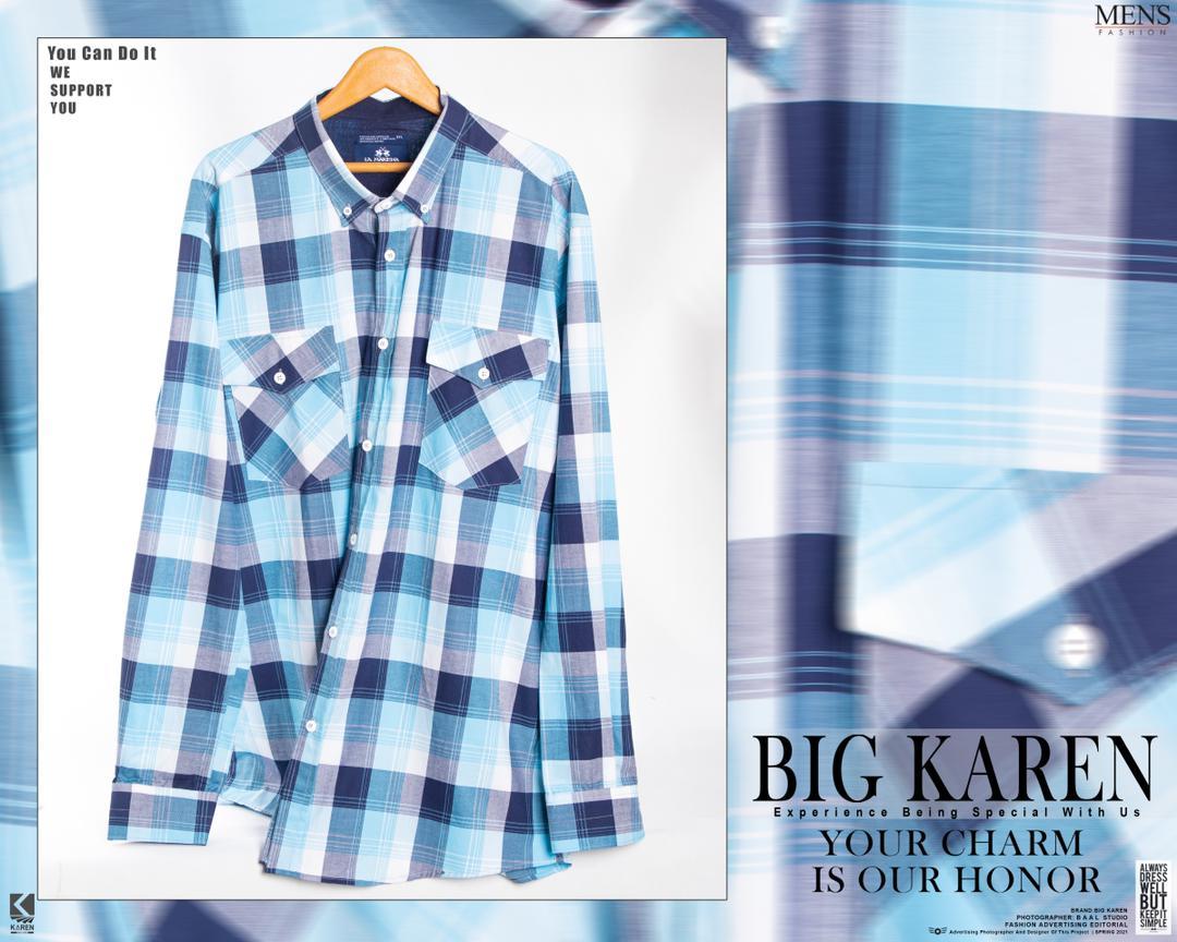 پیراهن سایز بزرگ مردانه نخی چهار خونه دو جیب - کد 175 رنگ آبی روشن