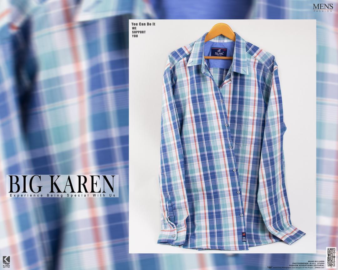 پیراهن سایز بزرگ مردانه جنس پنبه نخ چهارخونه درشت - کد 121