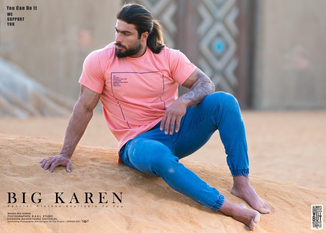 خرید تیشرت سایز بزرگ مردانه پنبه براش طرح دار - کد ۱۵۷