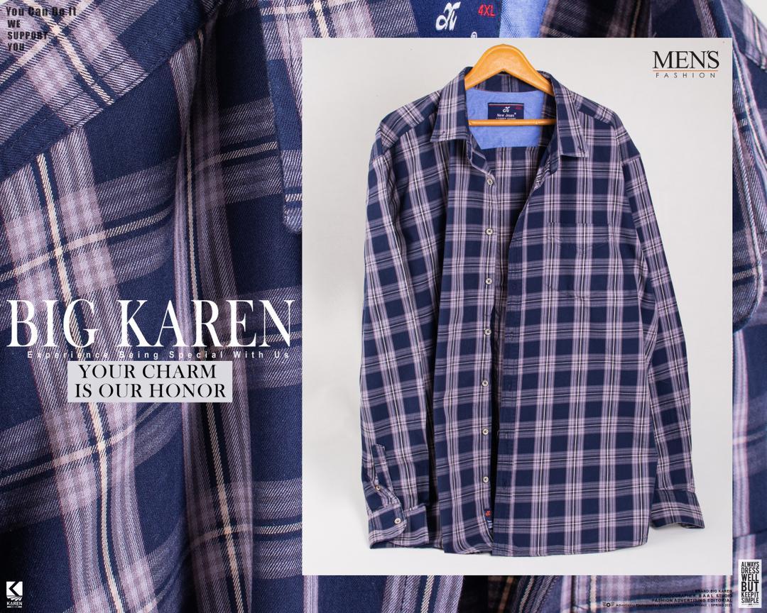 پیراهن سایز بزرگ مردانه چهارخونه درشت سرمه ای - کد 124