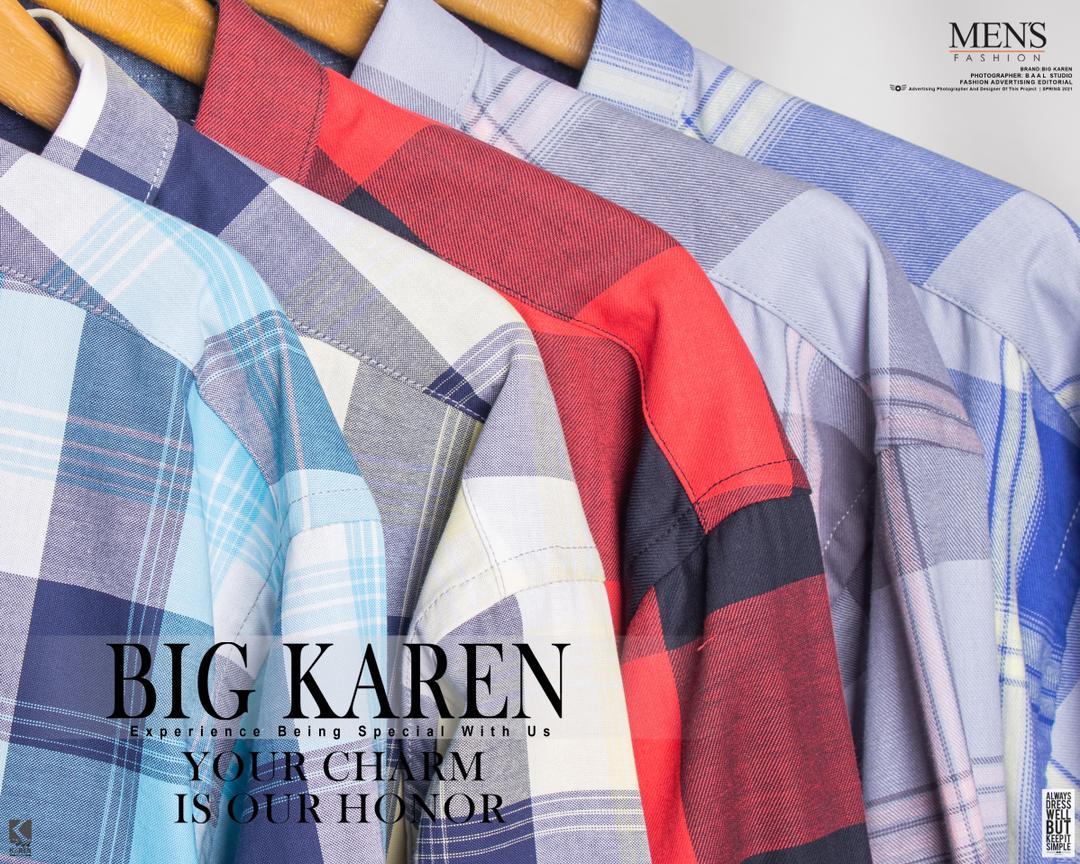 پیراهن سایز بزرگ مردانه نخی چهار خونه دو جیب - کد 175