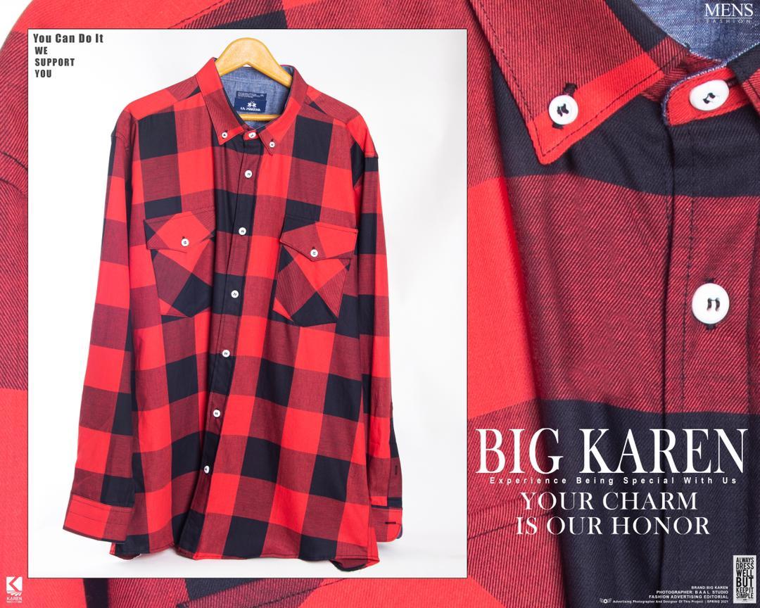 پیراهن سایز بزرگ مردانه نخی چهار خونه دو جیب - کد 175 رنگ قرمز