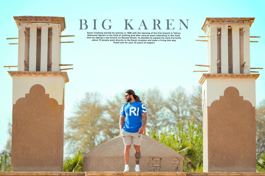 تیشرت سایز بزرگ پاریس پنبه براش - کد 200 رنگ آبی