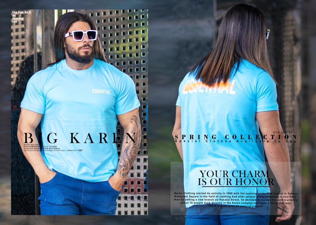 تیشرت سایز بزرگ مردانه Essential - کد 212 رنگ آبی